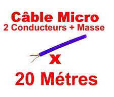 20 Métres de Câble Microphone 2 Conducteurs + Masse Gaine Couleur Bleu