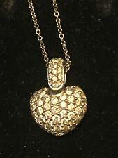 Estate Diamond Heart 18k White Gold Pendant Necklace