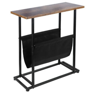 Industrial Slim Side Table Narrow Sofa End Stand Lamp Plant Storage Console Hall