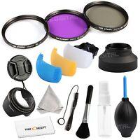 58mm UV CPL FLD Lens Filter Kit Hood Cover Cap For Canon Nikon Sony Sigma Tamron