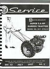 David Bradley 917575112 Walk Behind Tractor Service Manual Super 56 Hp