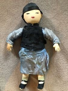 Antique Doll Asian with clothes, shoes