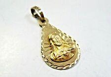 Real 10K Yellow Gold Medallion Pendant Sacred Heart of Jesus religious God