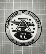 "OAKLAND RAIDERS JERSEY PATCH AFL ""AL"" ""COMMITMENT TO EXCELLENCE- JUST WIN BABY"""
