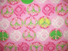 PEACE SYMBOLS TIE DYE FLOWERS PINK FLANNEL FABRIC BYHY OOP