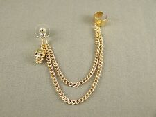 "Gold tone dangle post stud skull earring ear Cuff 4"" long chain lightweight"