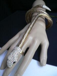 WOMEN LONG GOLD WIDE BRACELET SNAKE SLAVE RING WHITE BLING DRESSY LOOK ARM WRAP