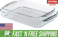Pyrex Basics 3Qt,  2Qt Glass Oblong Baking Dish Clear Bakeware Kitchenware