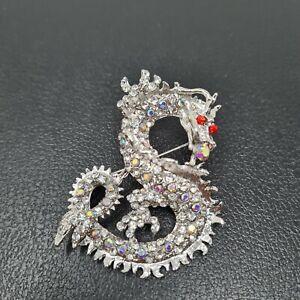 Rhinestone Dragon Brooch Pin Silver Toned Crystals