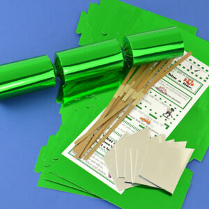 Green Foil Make & Fill Your Own DIY Christmas Cracker Craft Kits & Boards