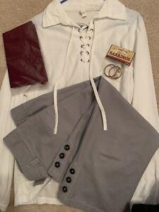 Jack Sparrow/Pirate Poet Shirt Mens L & Pants w/NEW Maroon Bandana & Earrings!