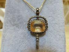 Antique Victorian 14k gold Etruscan citrine fob pocket watch key pendant filigre