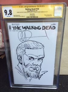 The Walking Dead #150 Original Art Grimes Sketch by Adlard SS CGC 9.8 signed x 2