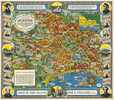 1934 Pictorial Street Map Melbourne Victoria Australia Poster Vintage History