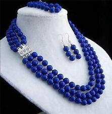 New 8mm 3rows natural lapis lazuli gemstone necklace bracelet earring sets
