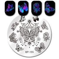 Schmetterling Stern Nagel Stempel Schablone Maniküre Nail Art Plate BP-155 5.5cm