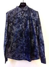 ARMANI JEANS Herren AJ NEU Langarm Hemd Gr XL Blau Stars Freizeit Shirt UVP €120