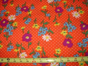 VTG Groovy Retro BOHO Flower Power Orange 1 1/3 YDS Stretchy Polyester Fabric
