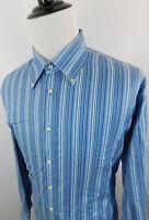 Tailorbyrd Men's Button Down Striped Long Sleeve Dress Shirt XXL Blue White