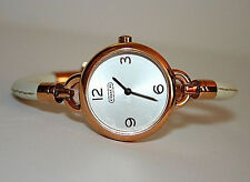 NWT Coach Womens Watch White Leather & Rose Gold Case Bangle PENNY 14501925 $250