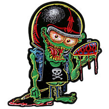 LOW BROW  EMBROIDERED 9 INCH IRON ON MC BIKER  PATCH