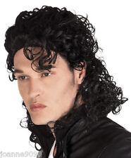 Para Hombre 80s Bad Michael Jackson Pop Rock Música Estrella Fancy Dress Costume Peluca Negra