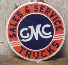 """GMC SALES & SERVICE TRUCKS 12"""" ROUND METAL SIGN GARAGE BARN INDOOR OUTDOOR"""