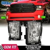 For 2013-2018 Dodge Ram Clear Bumper Fog Lights Left Right Set Lamp Replacement