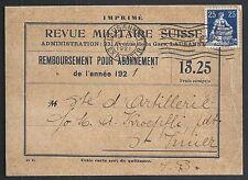 Switzerland covers 1921 PC Remboursement pour Abonnement to St.Imier