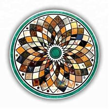 30'' Round Marble Coffee Table Top Gemstone Mosaic Inlay Living Room Decor W320