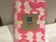 Pottery Barn 100% Cotton Twin Size Flower Chain Duvet-Pink