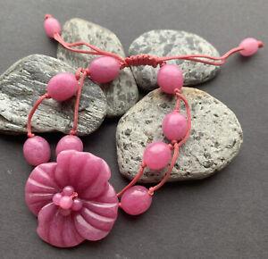 Carved Flower Lola Rose Dusky Pink Quartz Type Stone Bead Bracelet