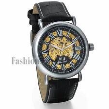 Men Retro Roman Dial Skeleton Steampunk Automatic Mechanical Leather Wrist Watch