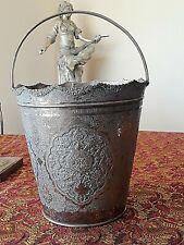 X- LARGE ANTIQUE SOLID SILVER PERSIAN ESFAHAN HANDLED ICE BUCKET OR WINE BUCKET