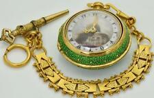 WOW! Ottoman M.Borrell,London Shagreen pair case Verge Fusee pocket watch&chain