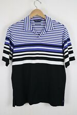 Polo Golf Ralph Lauren Mens Sz Medium Blue Striped Athletic Fit Shirt