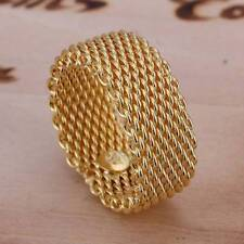 Fashion 925Sterling Solid Silver Jewelry Gold Mesh Rings Men Women R064