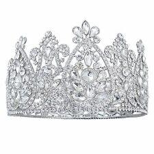 TQA60 Clear Rhinestone Alloy Bridal Pageant Prom Tiara Royal Queen Crown 95 mm