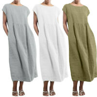 Women's Sleeveless O-neck Solid Pockets Linen Loose Baggy Kaftan Maxi Long Dress