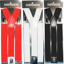 BRACES UNISEX 35MM MENS WOMENS ELASTIC Y-BACK ADJUSTABLE  SUSPENDERS CLIP ON