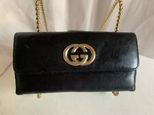 GUCCI BLACK LEATHER VINTAGE CONTINENTAL CLUTCH WALLET GG CLASP