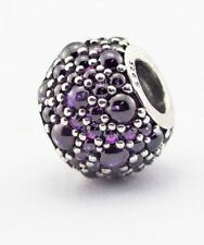 FUCHSIA CRYSTAL DROPLET .925 Sterling Silver European Charm Bead - CR2