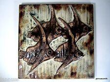 altes Wandbild sehr schwer Fliese Keramik Fische wertvolle Künstlerarbeit