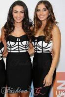 Ladies Womens Dress Midi Party Bodycon Black White Celeb Pencil New UK Size 8 10