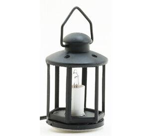 Dollhouse Miniature Black Lantern Light Candle 12 Volt with Plug 1:12 Scale