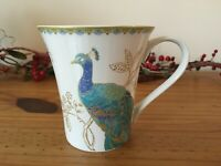 One 222 FIFTH Peacock Garden Mug, Fine China, Beautiful!