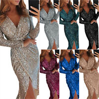Women V Neck Long Sleeve Sequin Bodycon Midi Dress Slit Evening Cocktail Party
