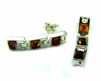 Beautiful 925 Sterling Silver & Baltic Amber Designer Earrings SilverAmber K100