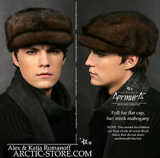 Cap Cabbie Cabby full fur hat Brown Mahogany RANCHED MINK Nerzmutze Vison