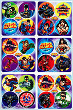 Justice League Dots Stickers x 24 (6 sheets) Favours Super Heroes Birthday Party